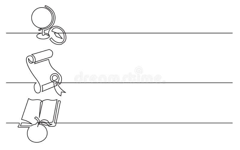 Bannerontwerp - ononderbroken lijntekening van bedrijfspictogrammen: schoolbol, diploma, boek en appel stock illustratie