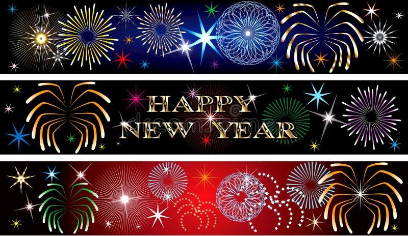 Banners 2 van het Vuurwerk van het nieuwjaar stock illustratie