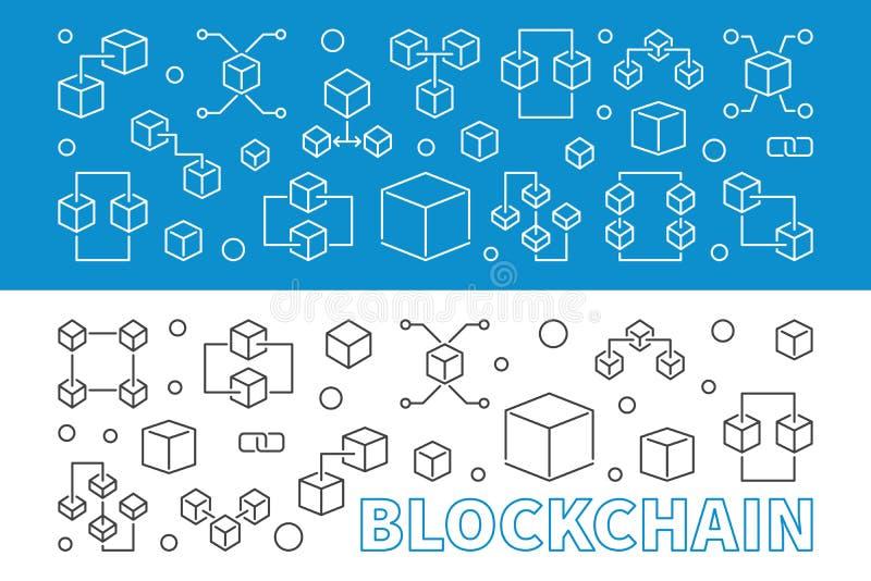 2 banners of achtergronden van het blockchainconcept in dunne lijnstijl vector illustratie