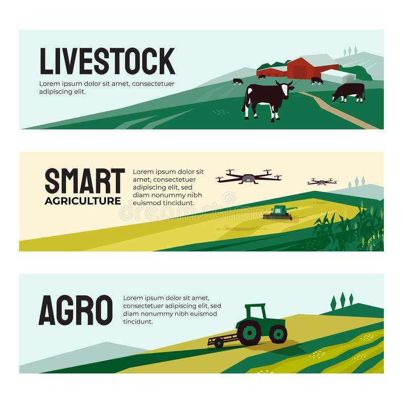 Banners of agricultural company, smart farming, livestock stock illustration