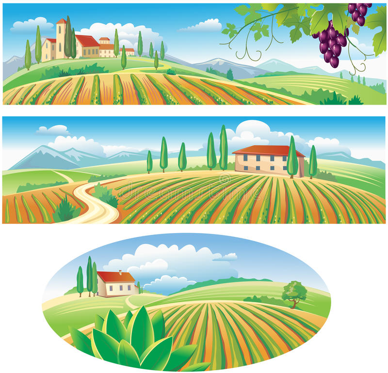 Download Banners With The Agriculture Landscape Stock Vector - Image: 19343419