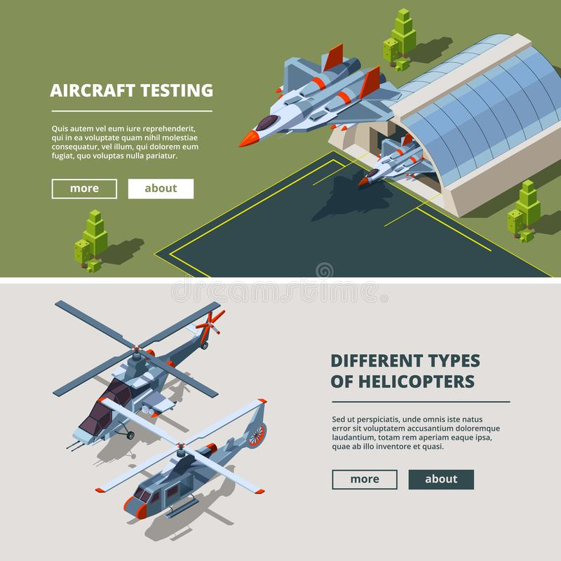 Banners with airplanes pictures. Military isometric aircrafts. Airbase with fighter aircraft, airplane isometric. Vector illustration royalty free illustration