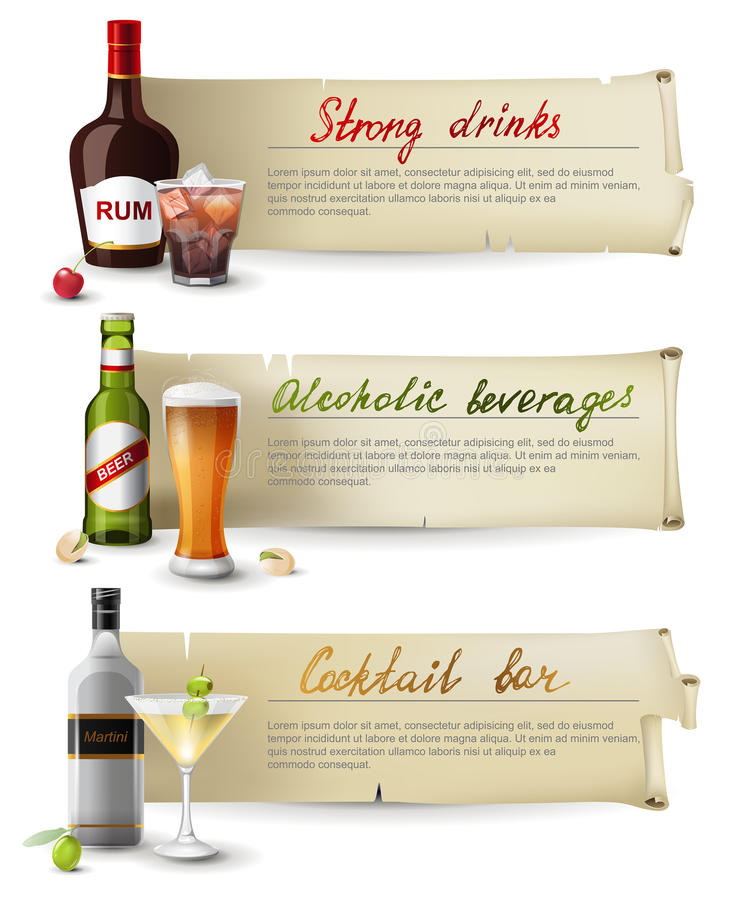 Download Banners With Alcoholic Drinks Stock Vector - Image: 36817248