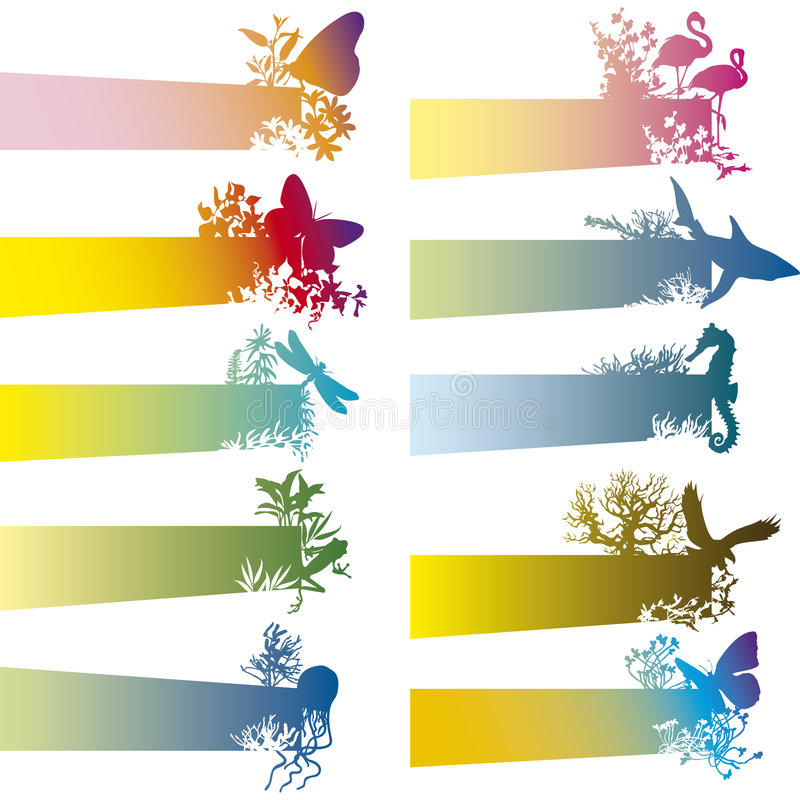 Banners with animal silhouette vector illustration