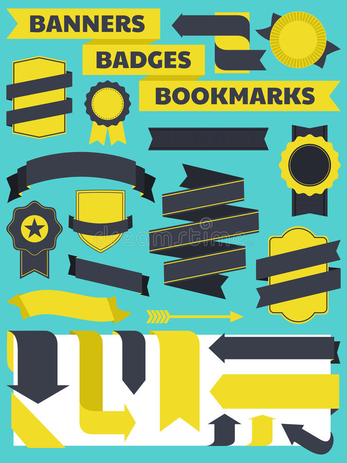 Download Banners, Badges And Bookmarks Collection Stock Vector - Image: 25430939