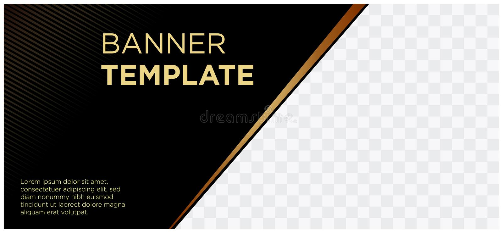 Banners black and gold header website company commercial landscape-06 royalty free illustration