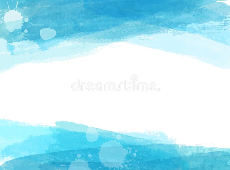 Banners with blue watercolor brushed lines. Background with blue watercolor paint brushed lines. Template for your designs vector illustration