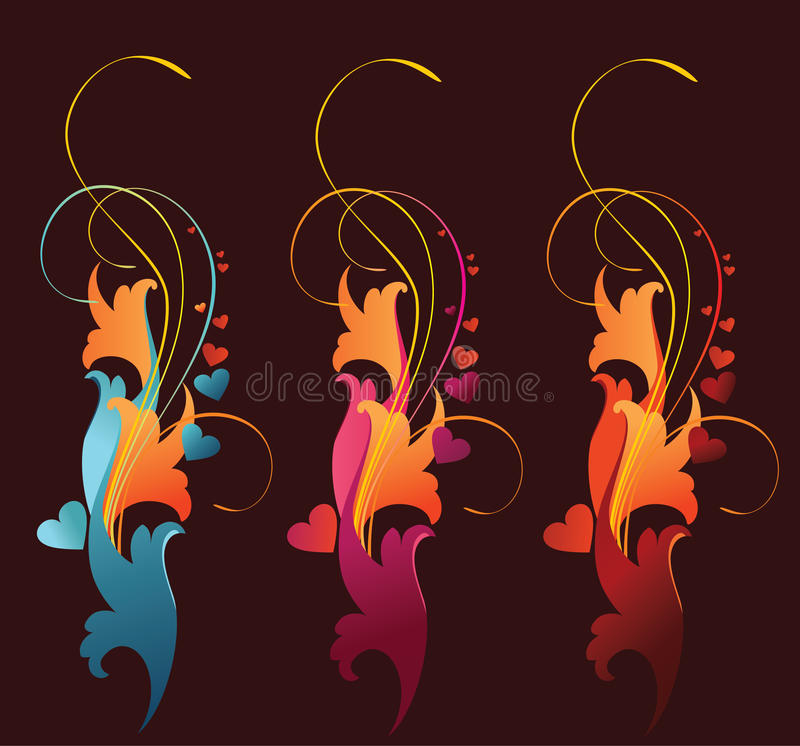 Download Banners Cantains Floral Ornament And Hearts. Stock Vector - Image: 17824378