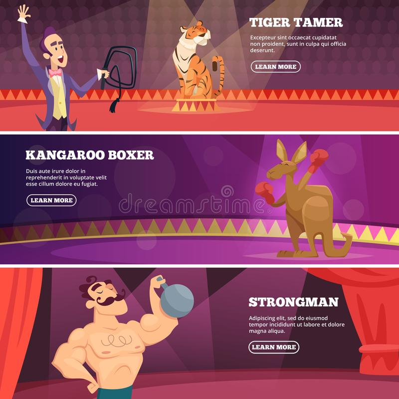 Banners of circus show. Vector illustrations of various circus artists stock illustration