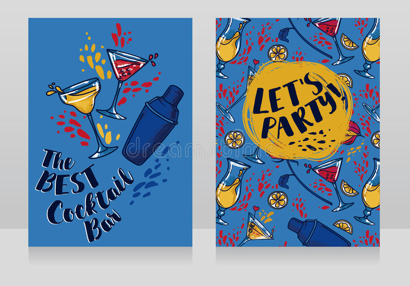 Banners for cocktails bar. Can be used as party invitation, vector illustration vector illustration