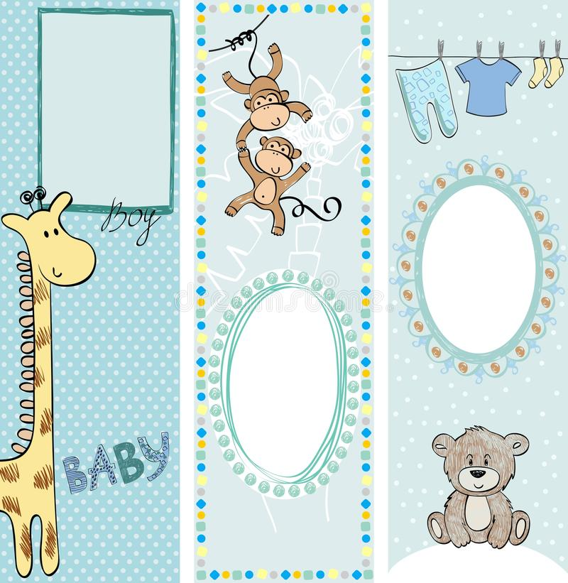 Banners. Collection of cute baby banners with animals vector illustration