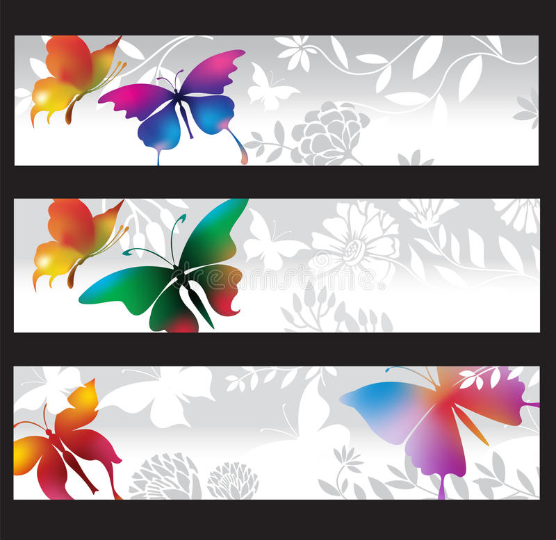 Banners with colorful butterflies. Grey banners with colorful butterflies royalty free illustration