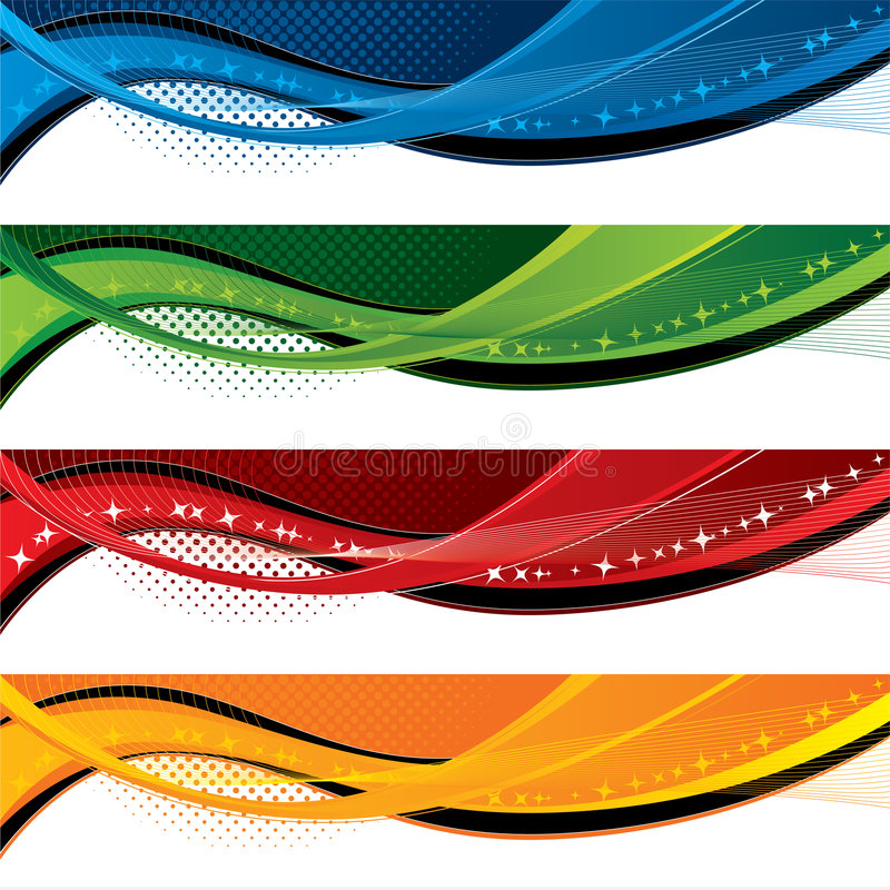 Banners with colorful waves and halftone effects royalty free illustration