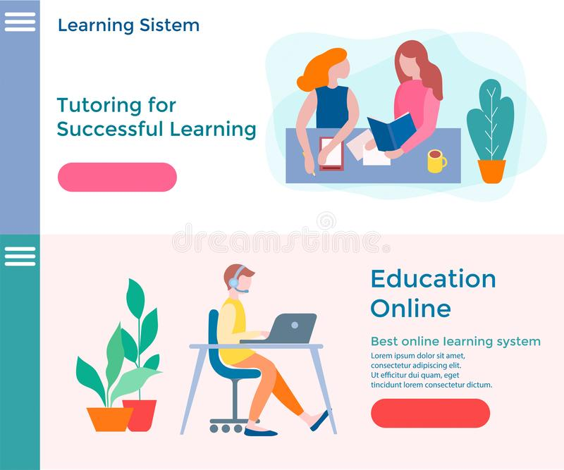 Banners of concept online education, educational courses and tut royalty free illustration