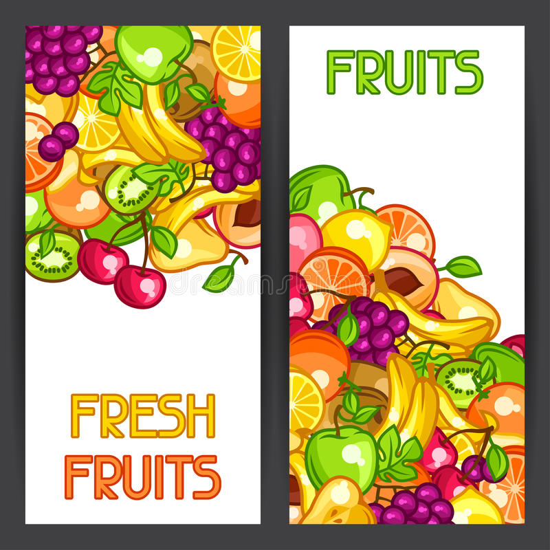 Banners design with stylized fresh ripe fruits.  royalty free illustration