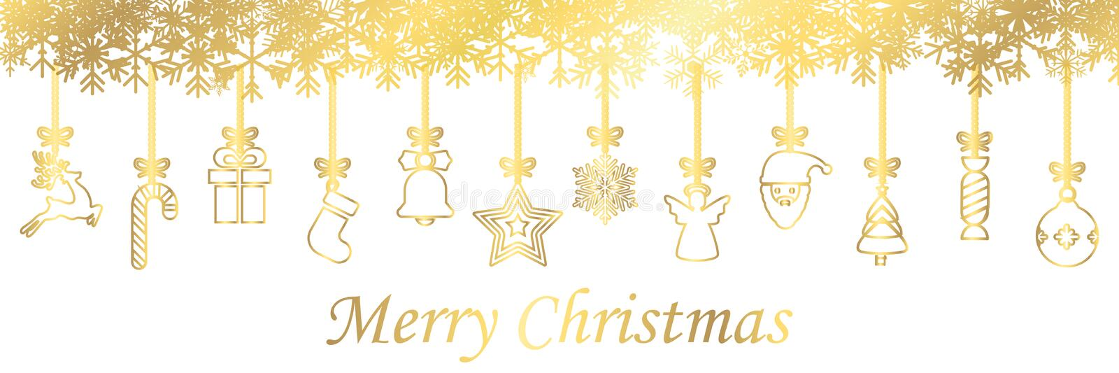 Banners from different golden hanging Christmas symbol icons, Merry Christmas, Happy New Year - vector vector illustration