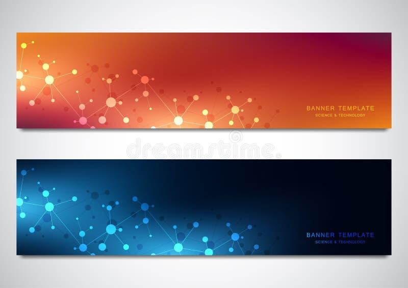 Banners en kopballen voor plaats met moleculesachtergrond en neuraal netwerk Genetische biologie of laboratoriumonderzoek vector illustratie