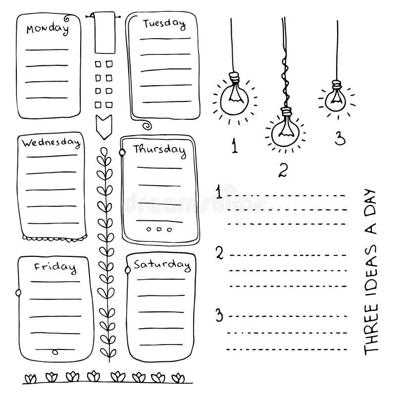 Banners en ontwerpelementen voor kogeldagboek stock illustratie