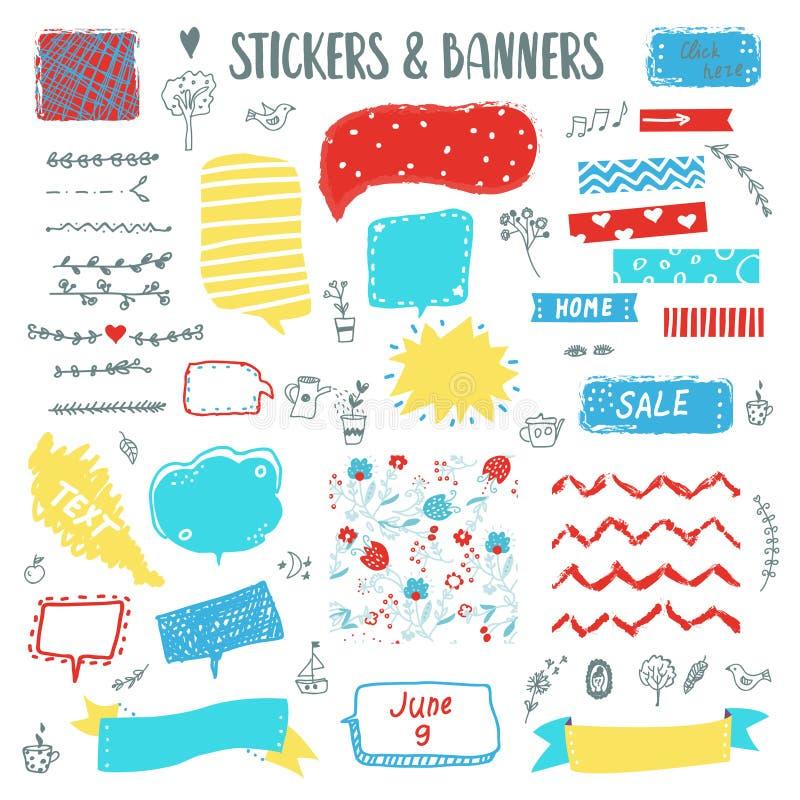 Banners en stickers grappige die krabbel met schetselementen wordt geplaatst Vector illustratie stock illustratie
