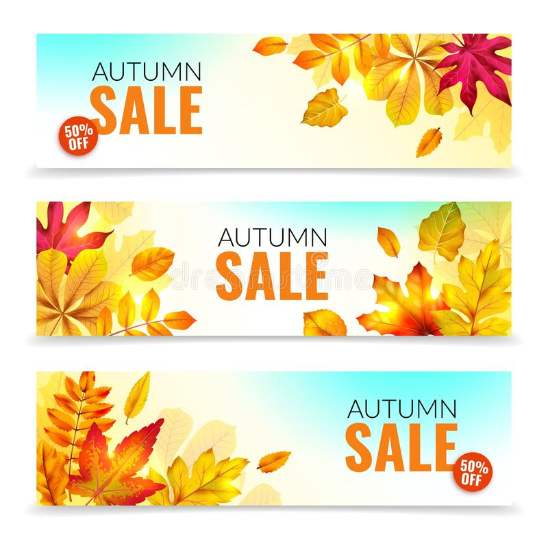 Banners with fall leaves. Autumn season discount offers with red and orange realistic foliage. Colorful leaf design. Vector seasonal autumnal sale abstract tag royalty free illustration