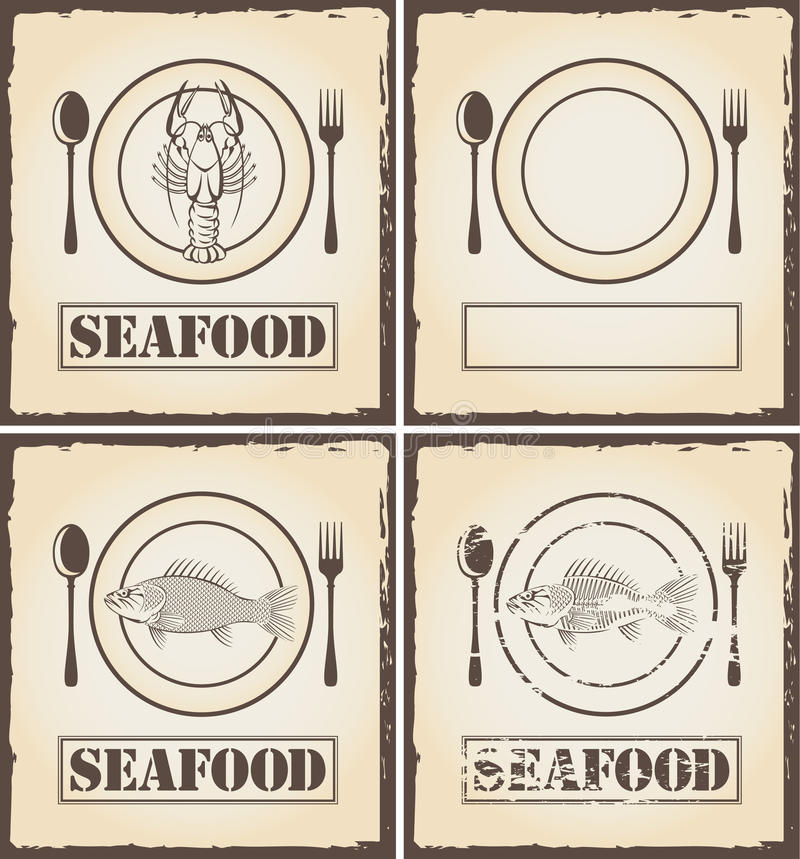Banners with fish and lobster stock illustration