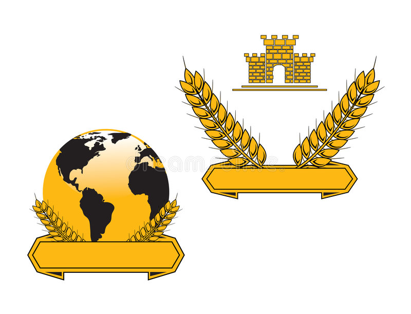 Banners with globe and wheat grains stock illustration