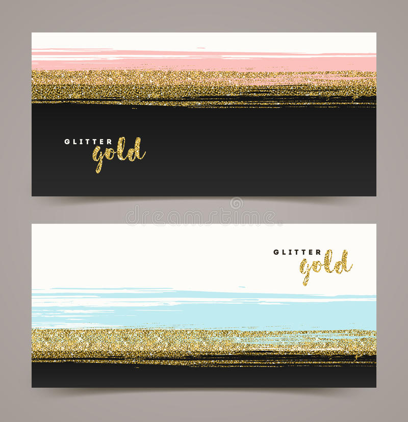 Banners with grunge glitter gold vector illustration