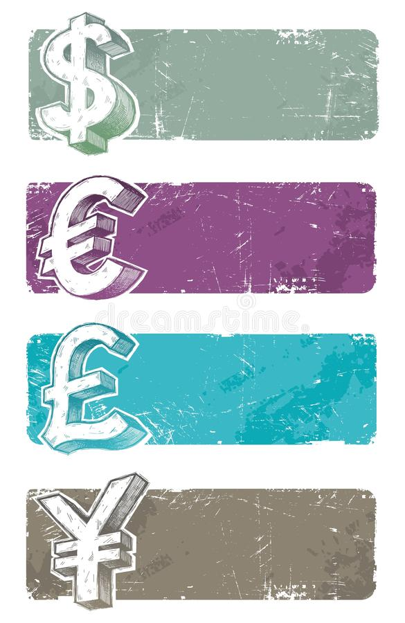 Banners With Hand Drawn Currency Signs Royalty Free Stock Photography