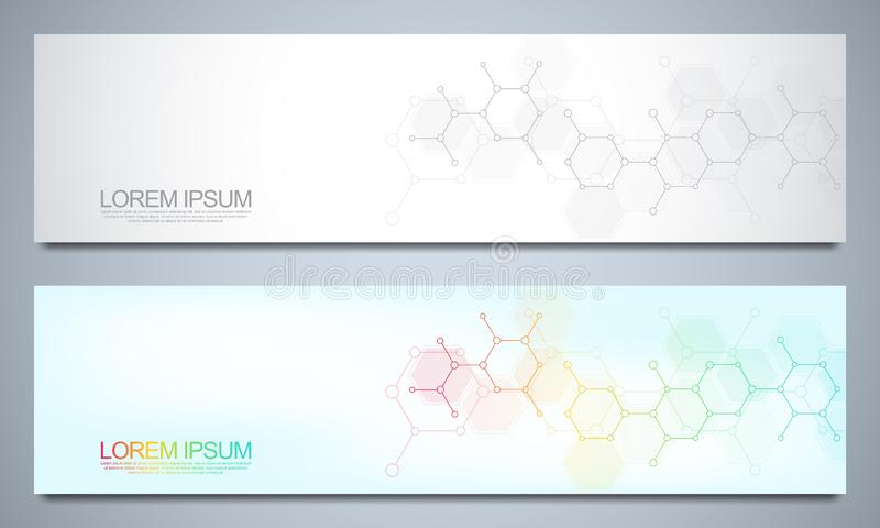 Banners and headers for site with medical background and molecular structures. Abstract geometric texture. Modern design. For decoration website and other ideas stock illustration