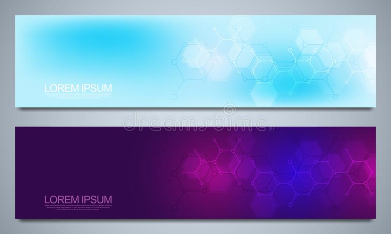 Banners and headers for site with medical background and molecular structures. Abstract geometric texture. Modern design. For decoration website and other ideas royalty free illustration