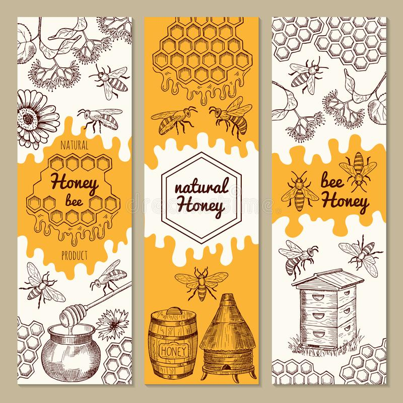 Banners with honey product pictures. Bee, honeycomb. Vector illustrations. Sweet honey natural banner collection royalty free illustration