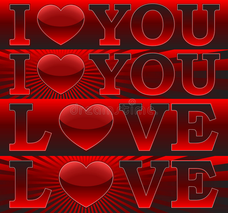 Download Banners _I Love You_ stock vector. Image of flayer, deco - 7828994
