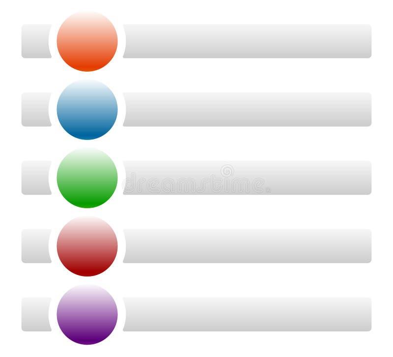 Banners/knopen met cirkels voor berichten met symbolen/pictogrammen vector illustratie