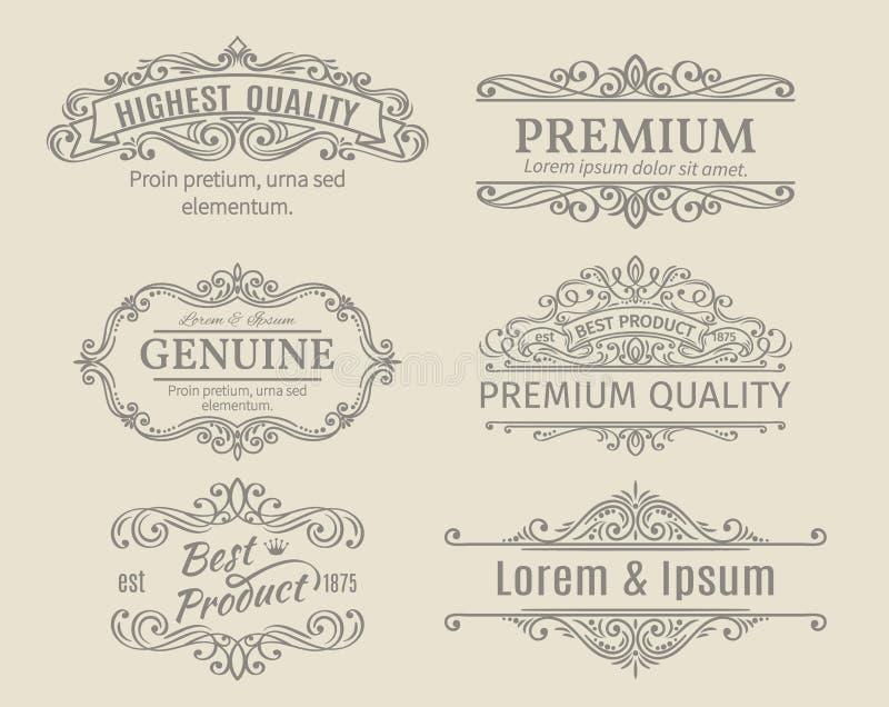 Banners Labels Frames Calligraphic Design Elements royalty free illustration