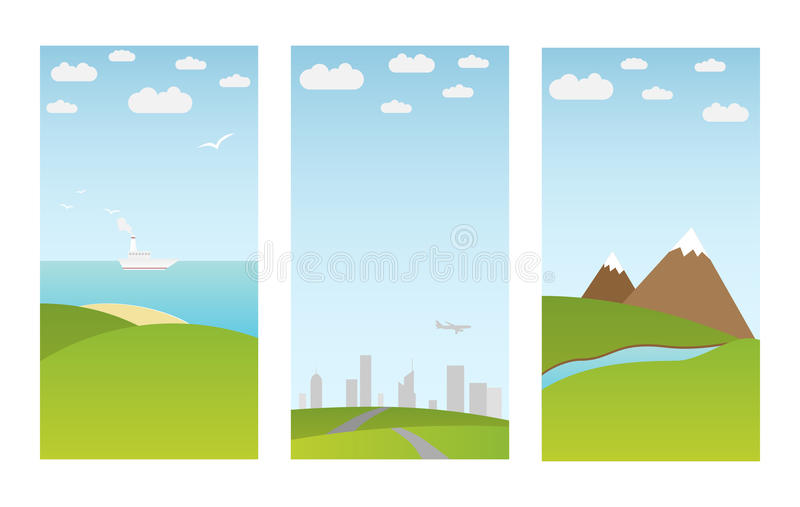 Download Banners with landscape stock vector. Image of blue, design - 18443229