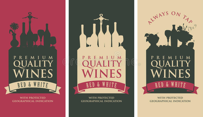 Banners for liquor store. Set of vector banners for liquor store with the silhouette of a still life from wine bottles vector illustration