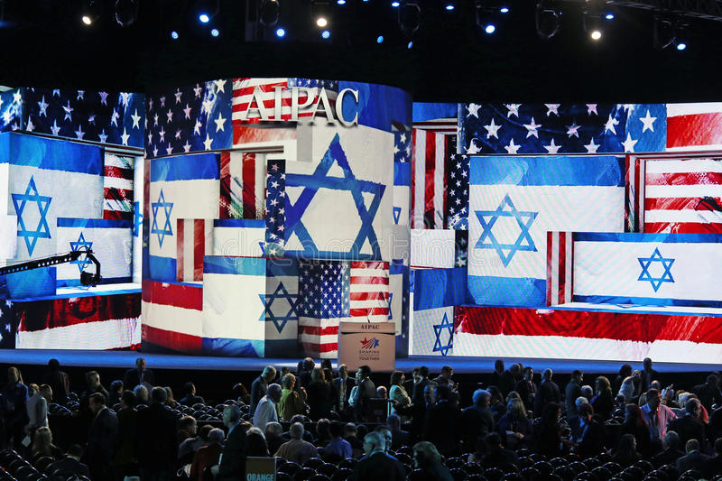 Atmosphere at AIPAC Conference. Banners and logos state the obvious, that the, 2013 AIPAC Policy Conference is in full swing. As many as 12, 000 delegates packed stock image