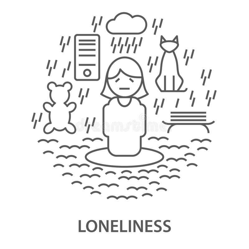 Banners for loneliness stock illustration
