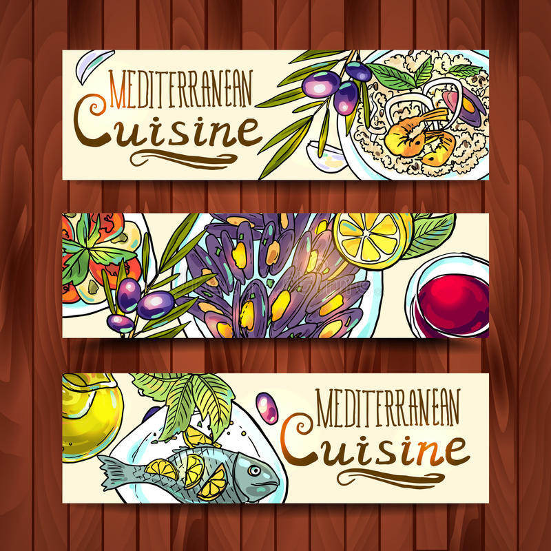 Banners with mediterranean food. Horizontal banners with mediterranean food on the wood texture royalty free illustration