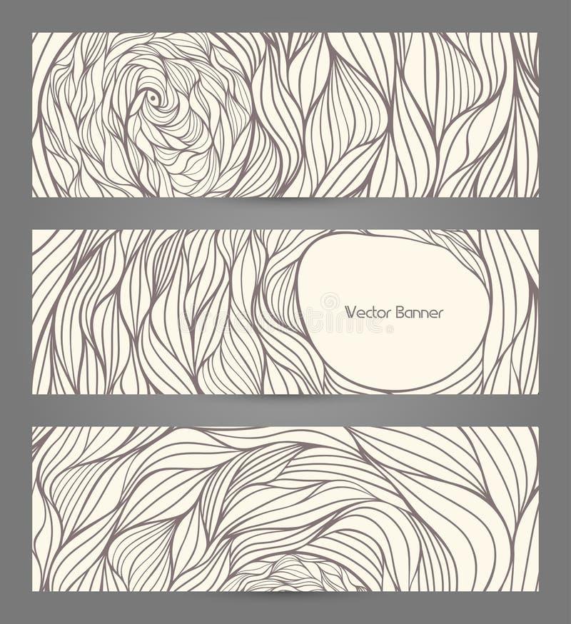 Banners met abstracte golven stock illustratie