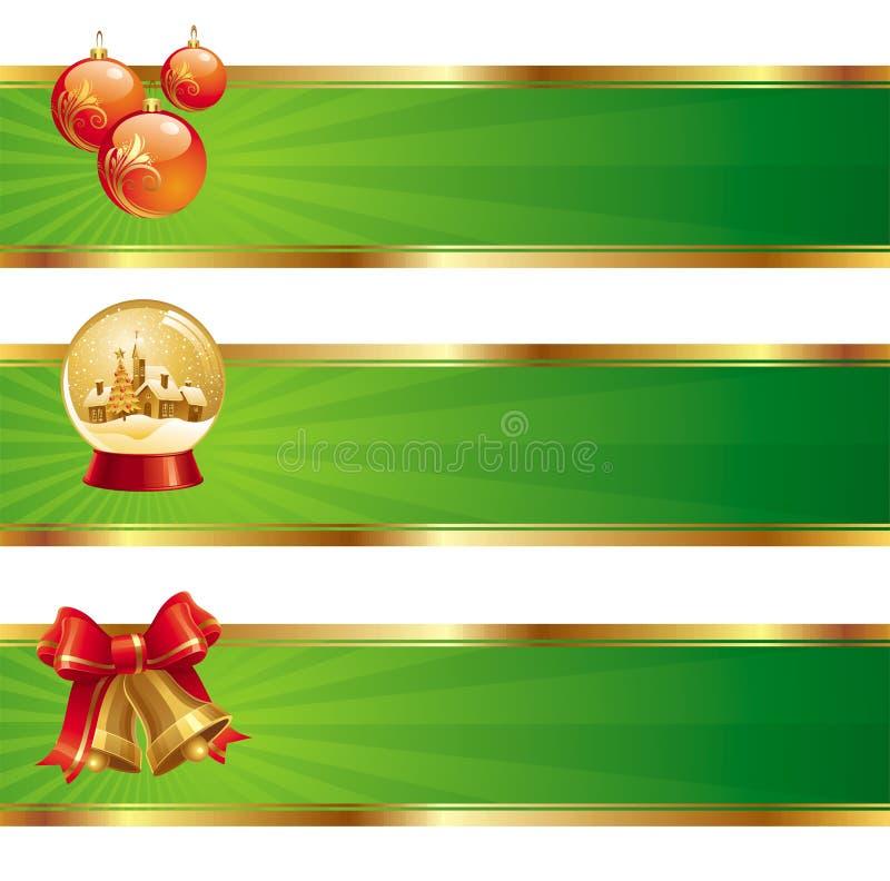 Banners met de symbolen van Kerstmis royalty-vrije illustratie