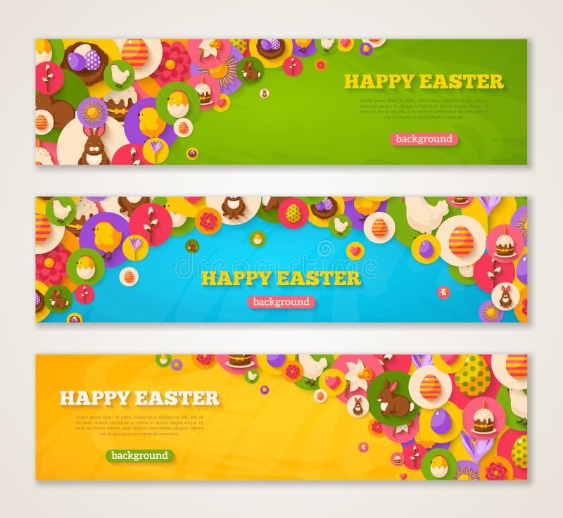 Banners met de Vlakke Pictogrammen van Pasen in Cirkels vector illustratie