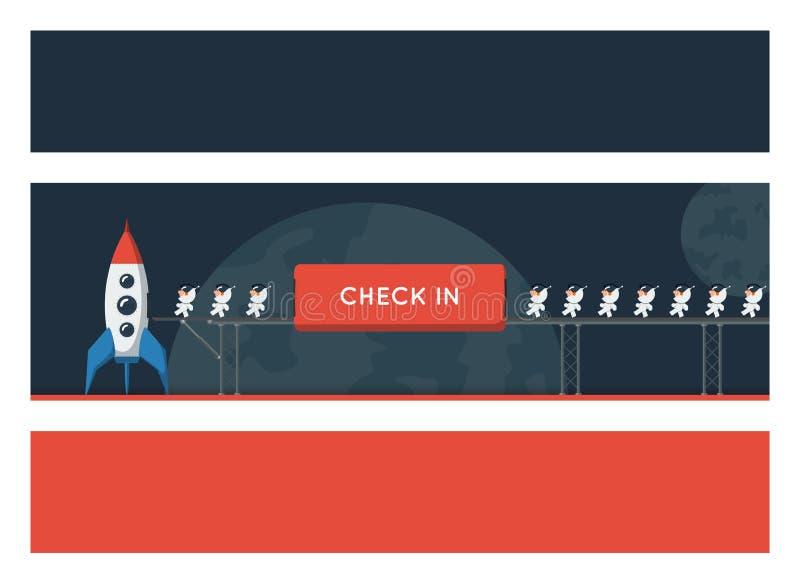 Banners met een ruimtethema Kleine grappige die astronauten op metaalbrug in het ruimteschip wordt geladen royalty-vrije illustratie