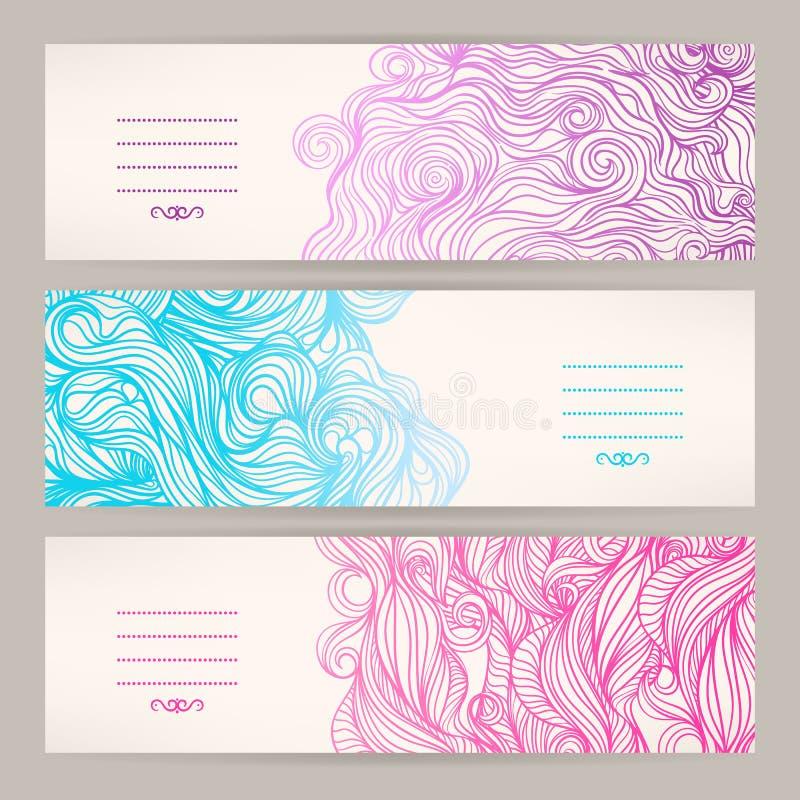 Banners met golvende patronen stock illustratie