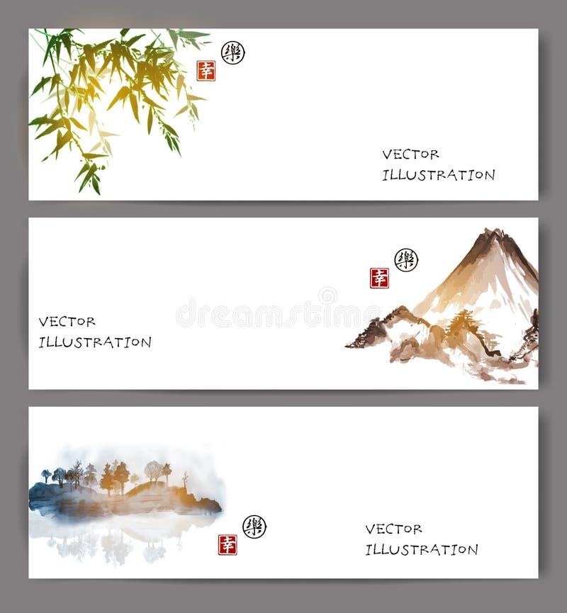 Banners met groen bamboe, bergen en eiland stock illustratie