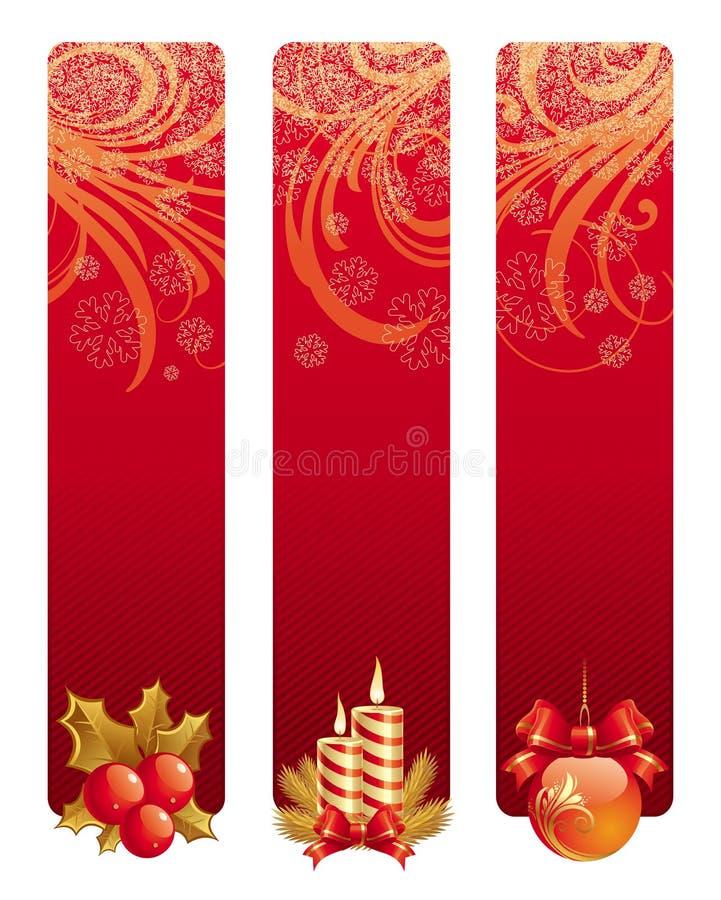 Banners met het symbool van Kerstmis stock illustratie