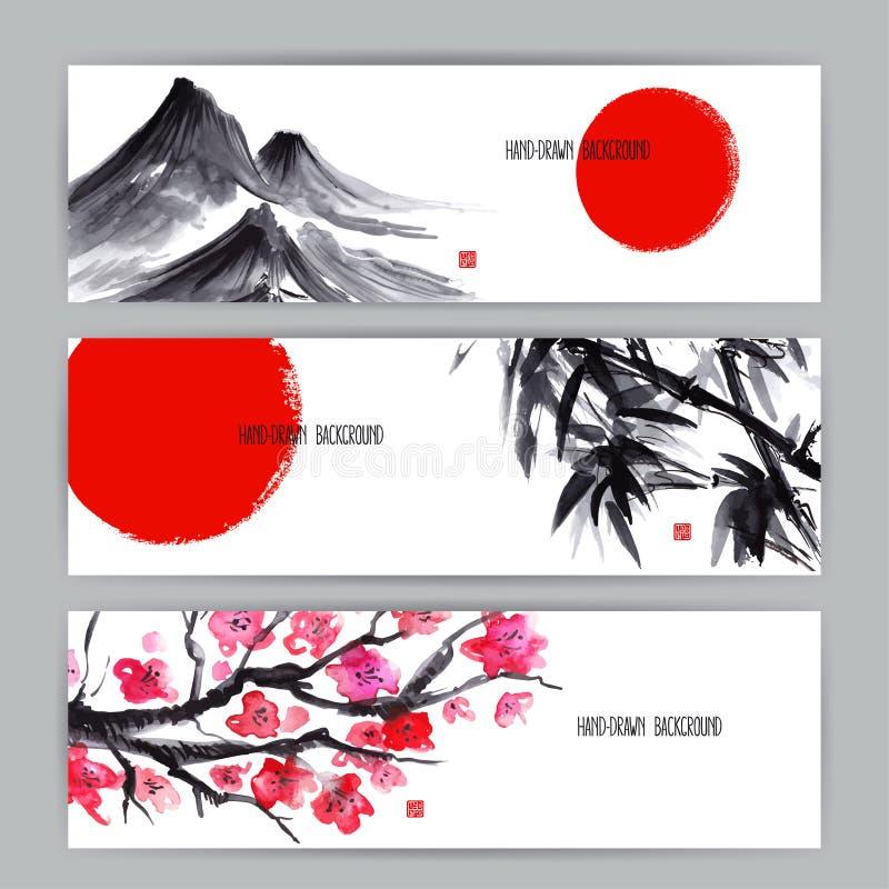 Banners met Japanse natuurlijke motieven royalty-vrije illustratie