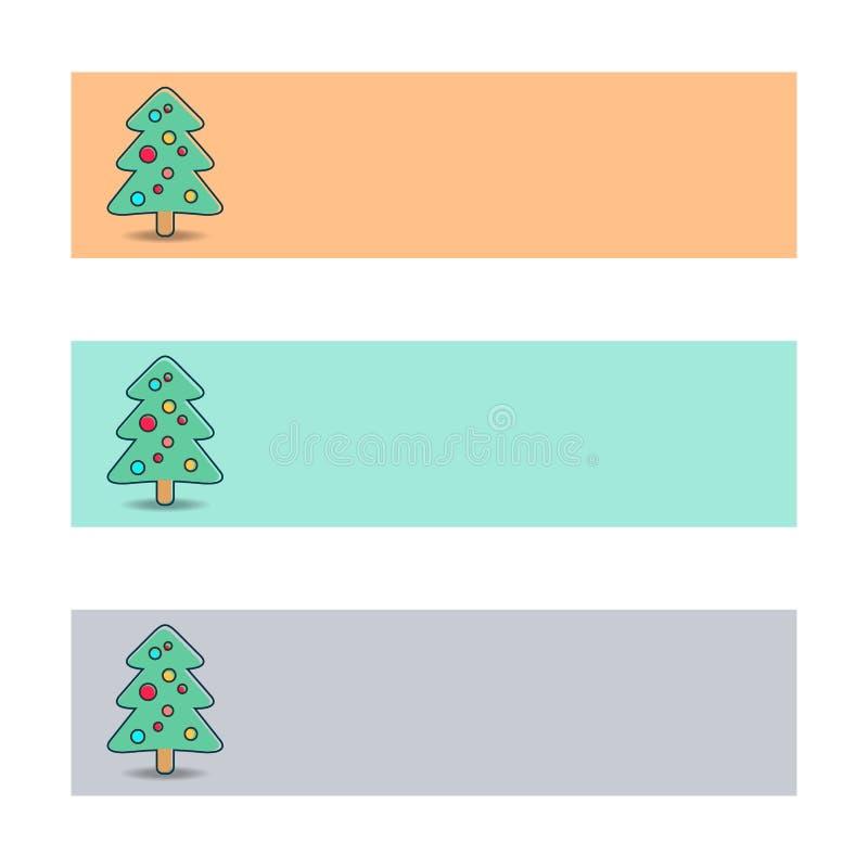 Banners met Kerstmisboom royalty-vrije illustratie