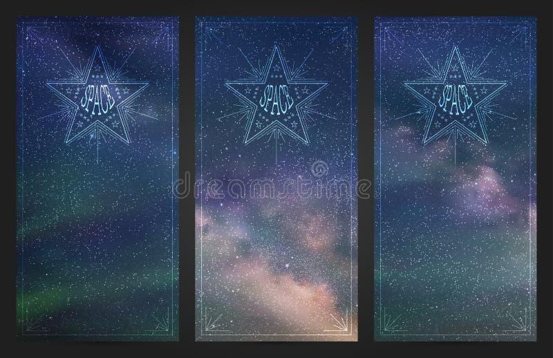 Banners met mooie sterrige hemel, melkachtige manier en Noordelijke lichten stock illustratie