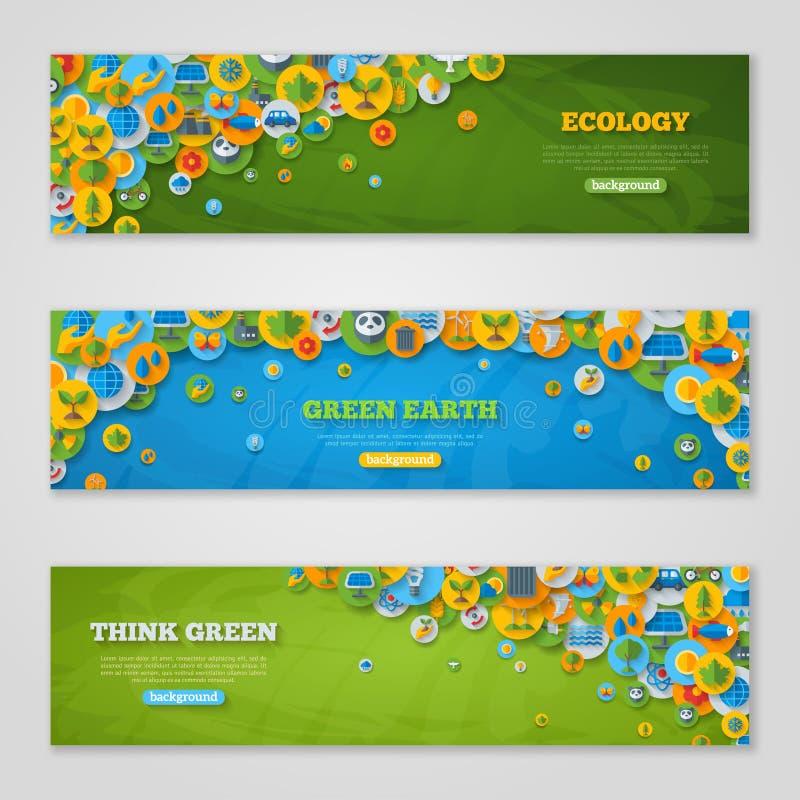 Banners met Pictogrammen van Ecologie, Groen Milieu, stock illustratie
